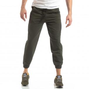 Pantaloni de trening pentru bărbați în verde militar cu bandă  2