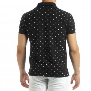 Polo shirt negru de bărbați motiv Clover Marshall 2