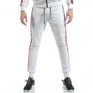 Pantaloni de trening albi cu benzi pentru bărbați  2