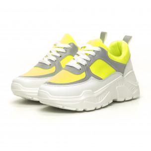Pantofi sport de dama Chunky verde neon  2
