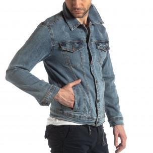 Jachetă din denim elastic albastru pentru bărbați