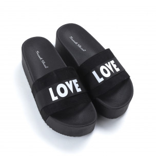Papuci de dama negri LOVE cu platformă 2