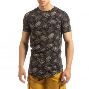 Tricou pentru bărbați negru motiv Leaves