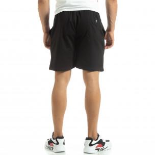 Pantaloni sport scurți de bărbați din tricot negru 2
