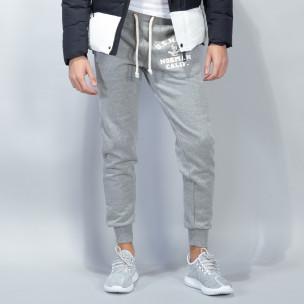 Pantaloni sport matlasați gri U.S.Navy pentru bărbați