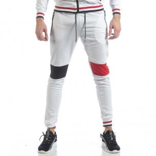 Pantaloni sport de bărbați albi cu accente