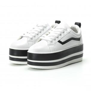 Teniși în alb și negru cu platforma pentru dama 2