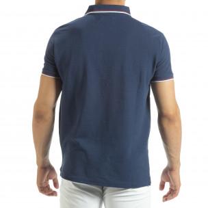 Tricou polo shirt albastru pentru bărbați  2