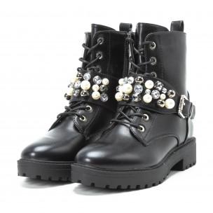 Botine negre cu perle și pietre pentru dama 2