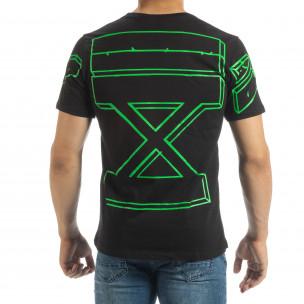 Tricou negru de bărbați cu imprimeu verde pe spate  2