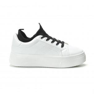 Teniși albi cu șosetă încorporată pentru dama