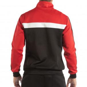 Hanorac negru 5 striped cu roșu pentru bărbați  2