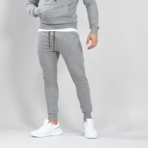 Pantaloni de trening de bărbați Basic gri din bumbac