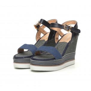 Sandale de dama albastre cu platformă înaltă 2