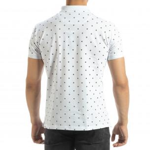 Polo shirt alb de bărbați motiv Clover  2