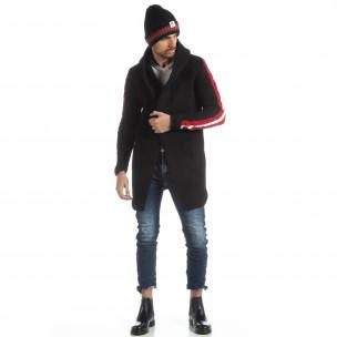 Cardigan negru tricotat pentru bărbați 2