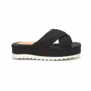 Papuci de dama negri împletiți