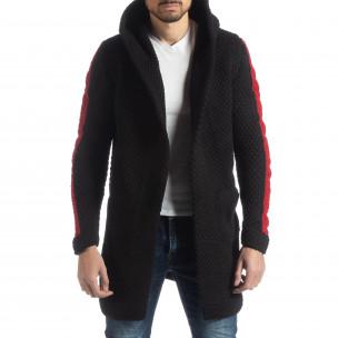 Cardigan negru tricotat pentru bărbați