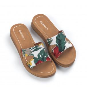 Papuci de dama cu imprimare florală 2