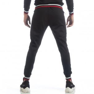 Pantaloni sport de bărbați negri cu accente  2