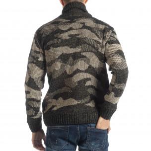 Pulover pentru bărbați în camuflaj maro cu guler mare 2