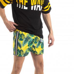 Costum de baie de bărbați galben cu imprimeu floral