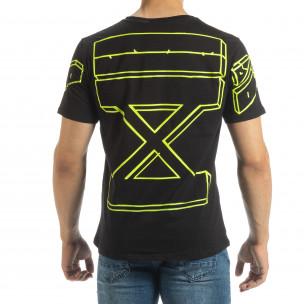 Tricou negru de bărbați cu imprimeu neon pe spate 2