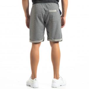 Pantaloni sport scurți albaștri cu dungi de bărbați 2