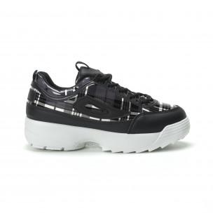 Pantofi sport de dama negri cu talpă Chunky