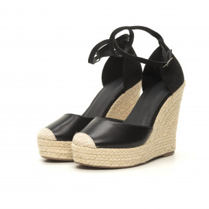 Sandale de dama negre cu talpă înaltă 2