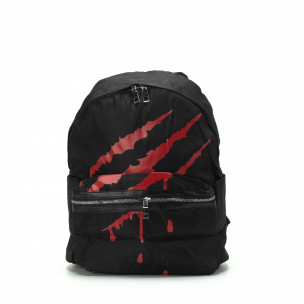 Rucsac negru cu imprimeu roșu
