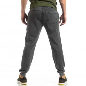 Pantaloni de trening gri cu efect șifonat de bărbați  2