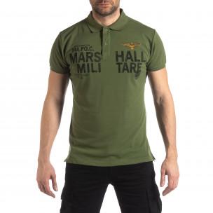 Tricou polo verde Marshall Militare pentru bărbați
