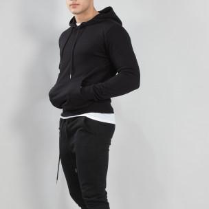 Hanorac negru Basic de bărbați cu buzunar tip marsupiu