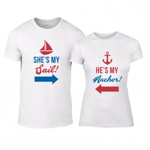 Tricouri pentru cupluri Sail Anchor alb
