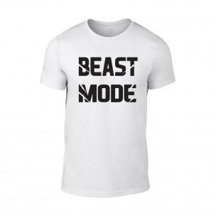 Tricou pentru barbati Beast Mode alb TEEMAN