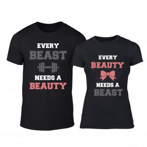 Tricouri pentru cupluri Beauty Beast negru TEEMAN