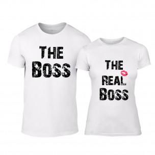 Tricouri pentru cupluri Boss alb