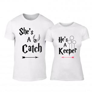 Tricouri pentru cupluri Catch Keeper alb TEEMAN