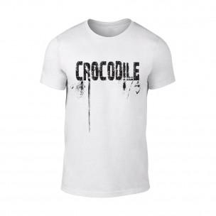 Tricou pentru barbati Crocodile alb TEEMAN