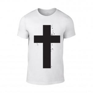 Tricou pentru barbati Cross alb, mărimea S