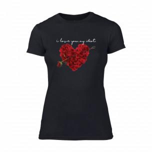 Tricou de dama Roseheart negru, mărimea L