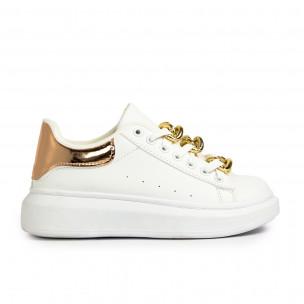 Teniși înalți de dama Fashion&Bella albe
