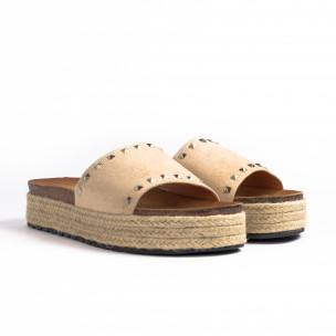 Papuci de dama Sweet Shoes bej 2