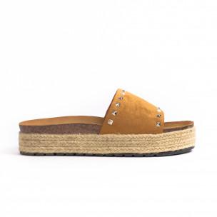 Papuci de dama Sweet Shoes camel