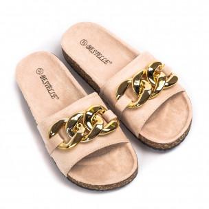 Papuci de dama Bestelle bej 2