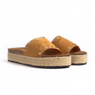 Papuci de dama Sweet Shoes camel 2