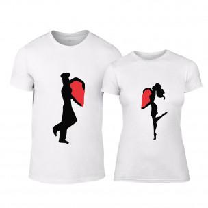Tricouri pentru cupluri Half Heart alb TEEMAN