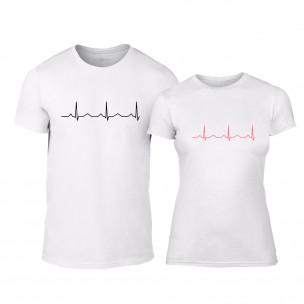 Tricouri pentru cupluri Heartbeats alb TEEMAN