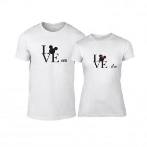 Tricouri pentru cupluri Love Him Love Her alb TEEMAN